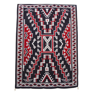 "Crystal / Storm Pattern Navajo Weaving  : Historic : GHT 624 : 8′6"" x 11'6"" - Getzwiller's Nizhoni Ranch Gallery"