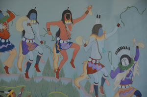 Painting - Harrison Begay Sr.-Visiting the neighboring hogan - Getzwiller's Nizhoni Ranch Gallery