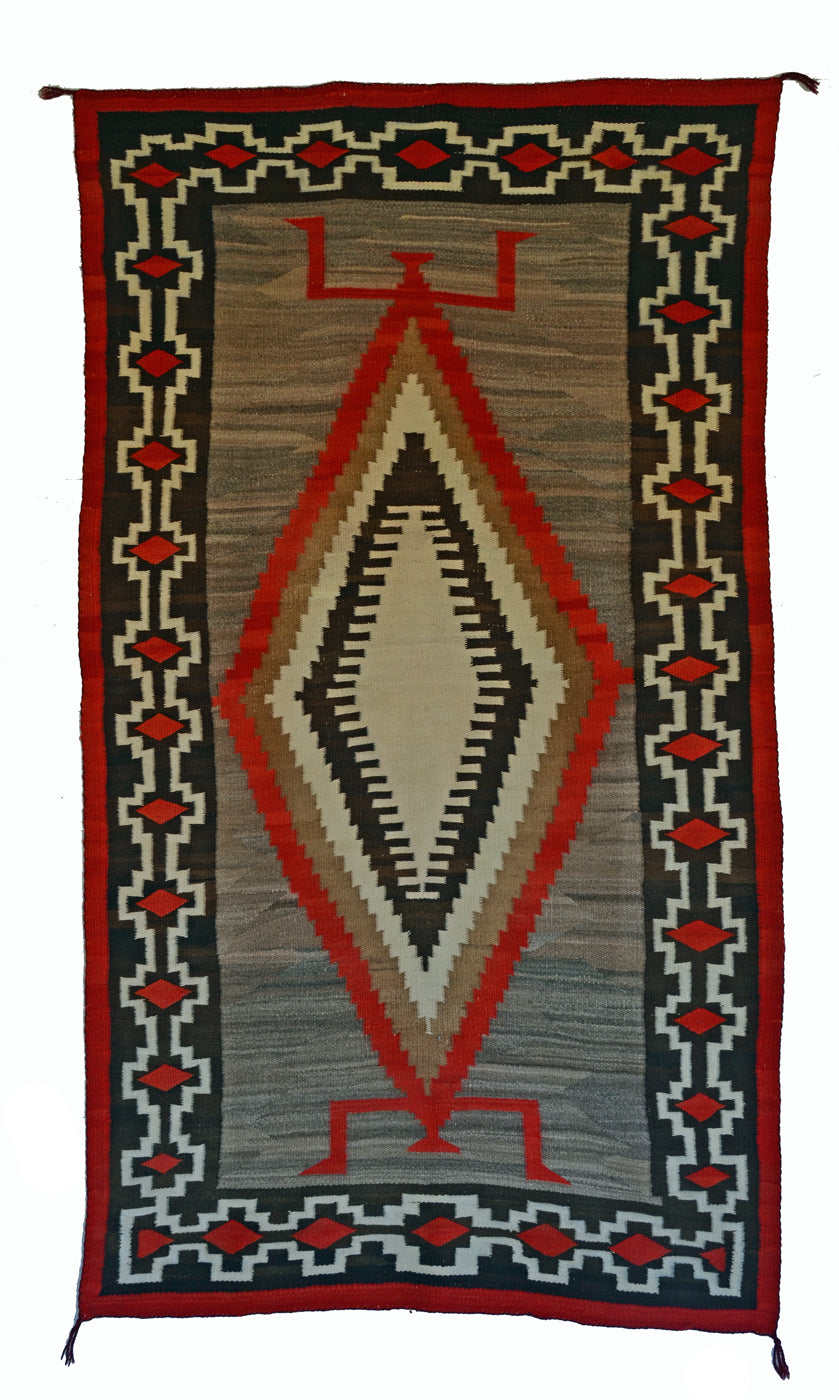 "Crystal / JB Moore Variant : Historic Navajo Weaving : GHT 2294 : 48"" x 88"" - Getzwiller's Nizhoni Ranch Gallery"