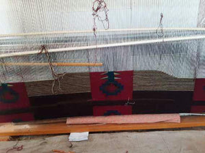 Native American Art Navajo Moki Blanket on the loom