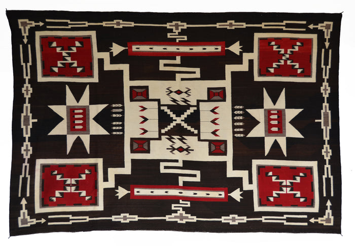 "Storm Pattern Navajo Weaving  : Historic : GHT 2297-KS : 77"" x 112"""