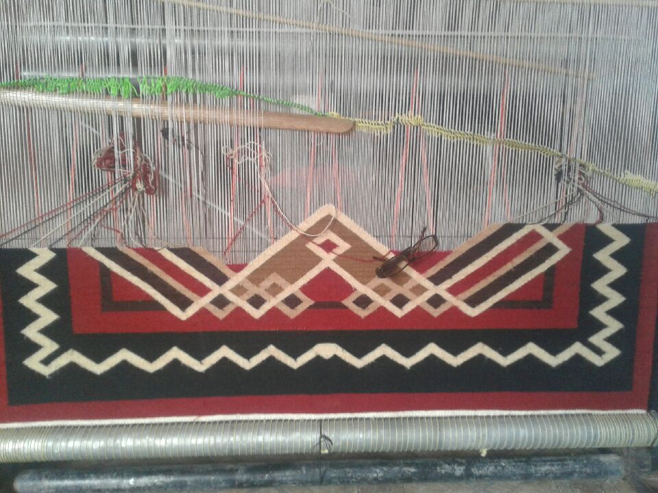 Navajo Rug on the : Geraldine Phillips : Churro looming - Getzwiller's Nizhoni Ranch Gallery