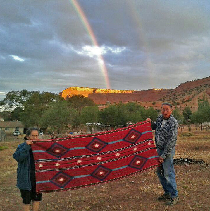 Gold under the rainbow--Navajo Wool silk blend shawl