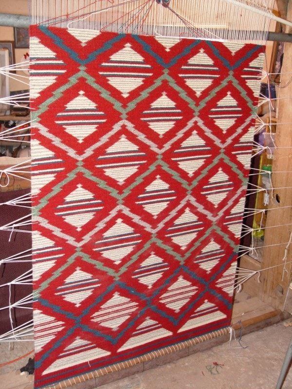 SOLD Serape Navajo Weaving : Lucie Marianito : Churro 1339 - Serape - Churro Collection- Navajo Rugs - Navajo Textiles