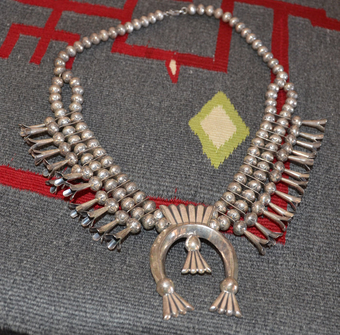 SOLD Native American Jewelry : Navajo : Vintage Squash Blossom Necklace : NAJ-30N