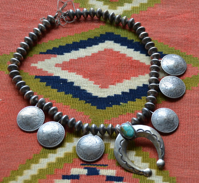 Native American Jewelry : Navajo : Coin Silver Necklace : NAJ-32N