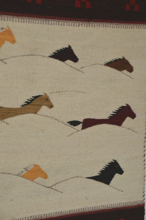 Navajo rug horse pictorial-close up