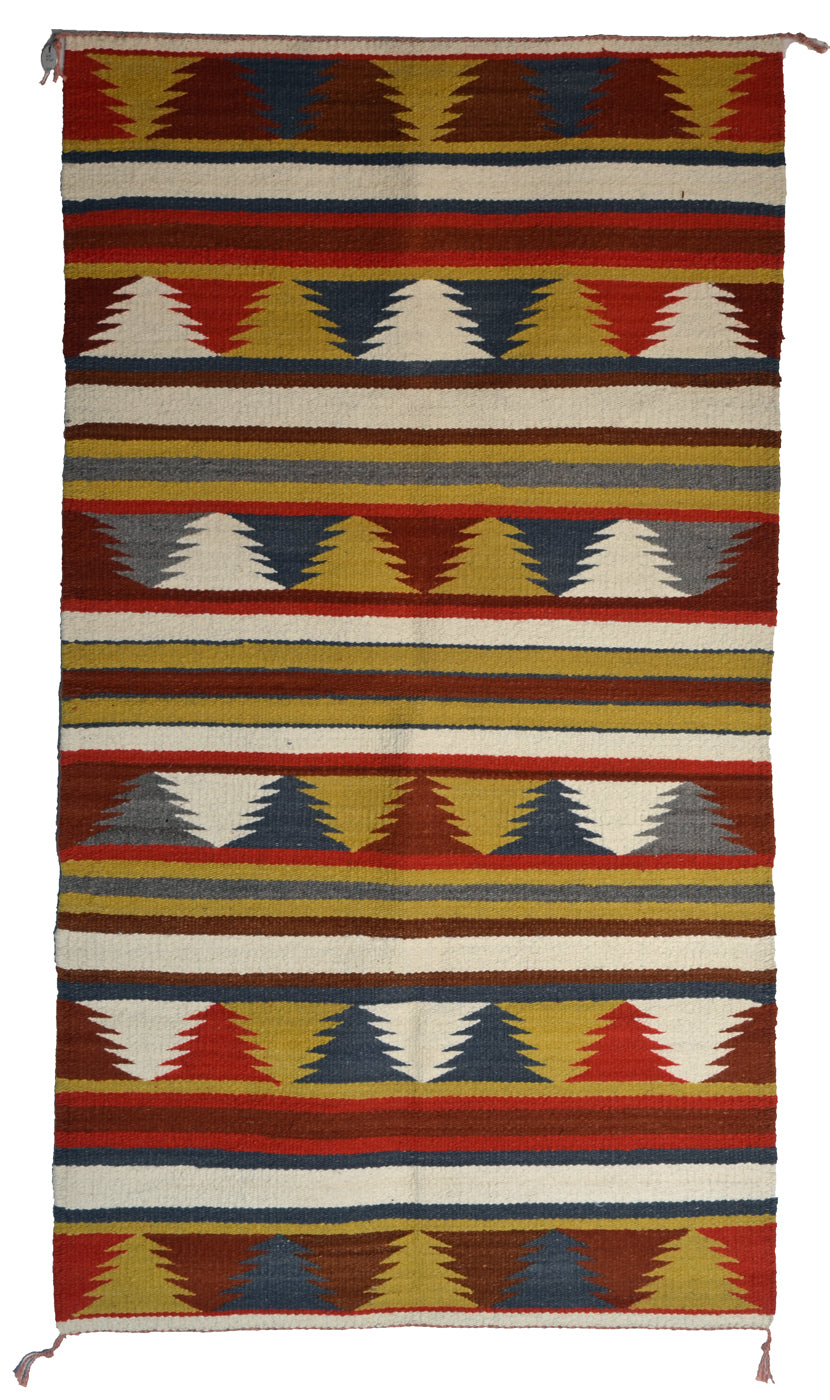 "Navajo Saddle Blanket - Double  : Charlotte Yazzie : Nizhoni Ranch Gallery : SG 30-a : 35"" x 62"""