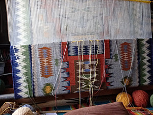 Navajo rug on the loom -heading to the finish line.