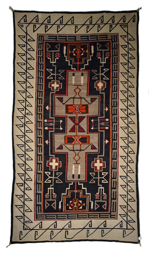 "Teec Nos Pos Navajo Weaving : Antique : PC 144  : 88"" x 40"""