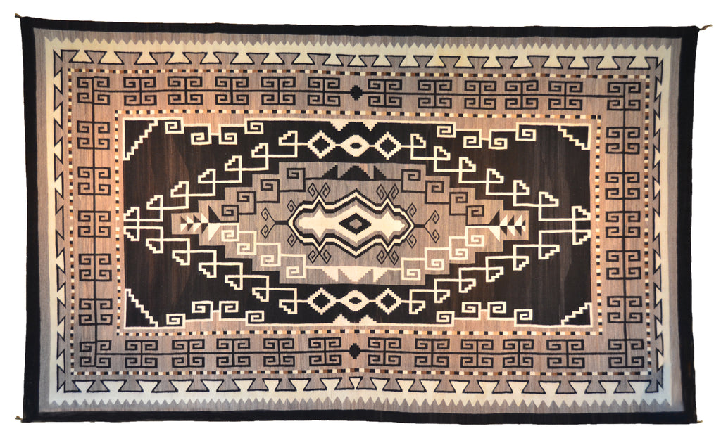 Two Grey Hills Navajo Rug Weaving : Historic : PC 120: Large