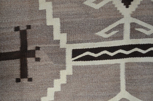 "Two Grey Hills - Toadlena Navajo Weaving : Historic : PC 129 : 46"" x 65"" - Getzwiller's Nizhoni Ranch Gallery"