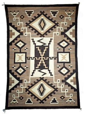 "Two Grey Hills Navajo Rug Weaving : Historic : PC 131 : 48"" x 72"" - Getzwiller's Nizhoni Ranch Gallery"
