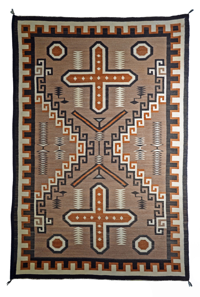 "Two Grey Hills - Sanostee Navajo Weaving : Historic : PC 135 : 48"" x 72"""