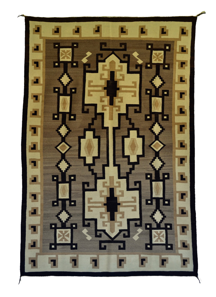 "Two Grey Hills - Toadlena Navajo Weaving : Historic : PC 138 : 52"" x 77"""