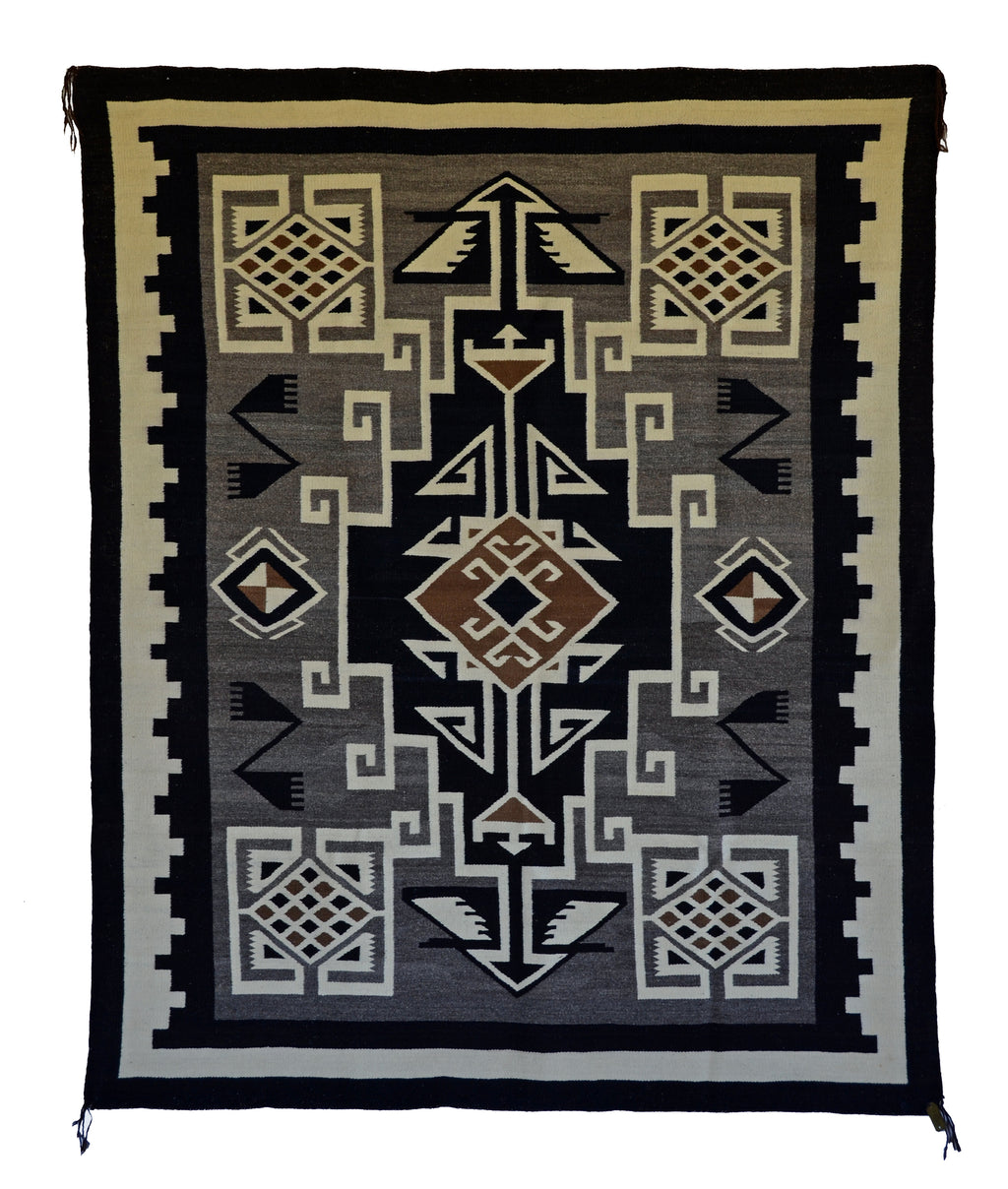 "HOLD Two Grey Hills Navajo Rug : Historic : PC 139 : 52"" x 64"" - Getzwiller's Nizhoni Ranch Gallery"