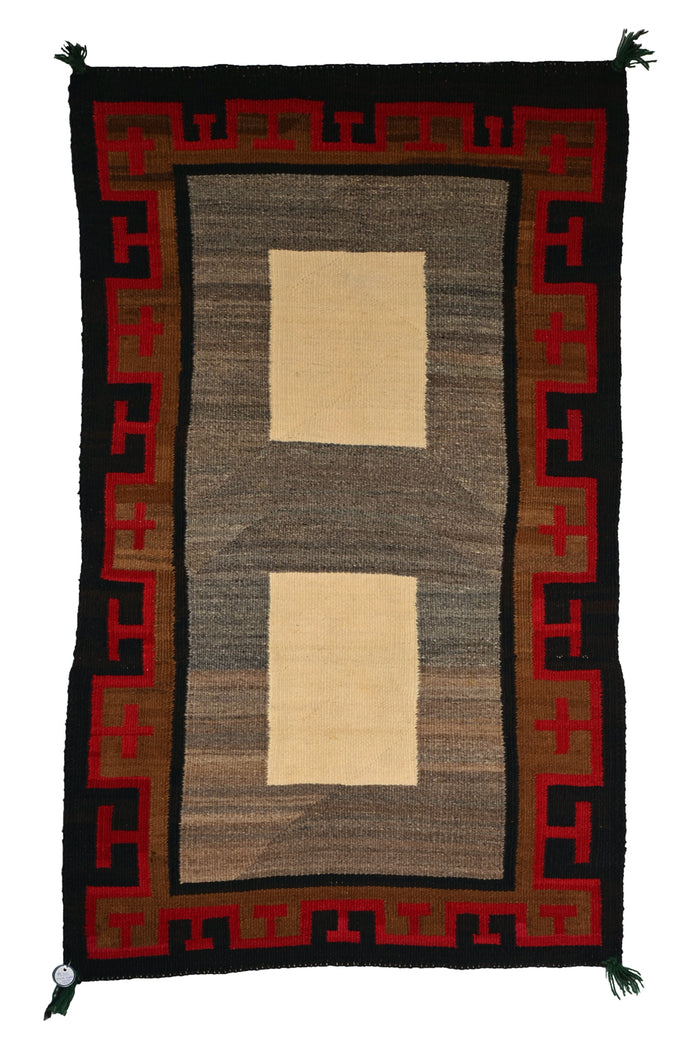"Double Saddle Blanket : Vintage Indian Blanket : PC 205 : 38"" X 52"""