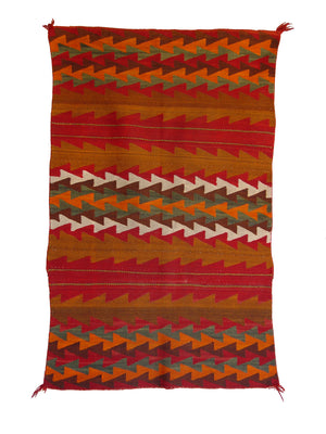 "Twill Double Saddle Blanket Navajo Weaving : Historic : PC 248 : 31.5"" x 48"" - Getzwiller's Nizhoni Ranch Gallery"