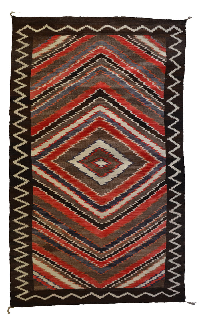 "Rio Grande Style Navajo Weaving : Historic : PC 252 : 47.5"" x 84"""