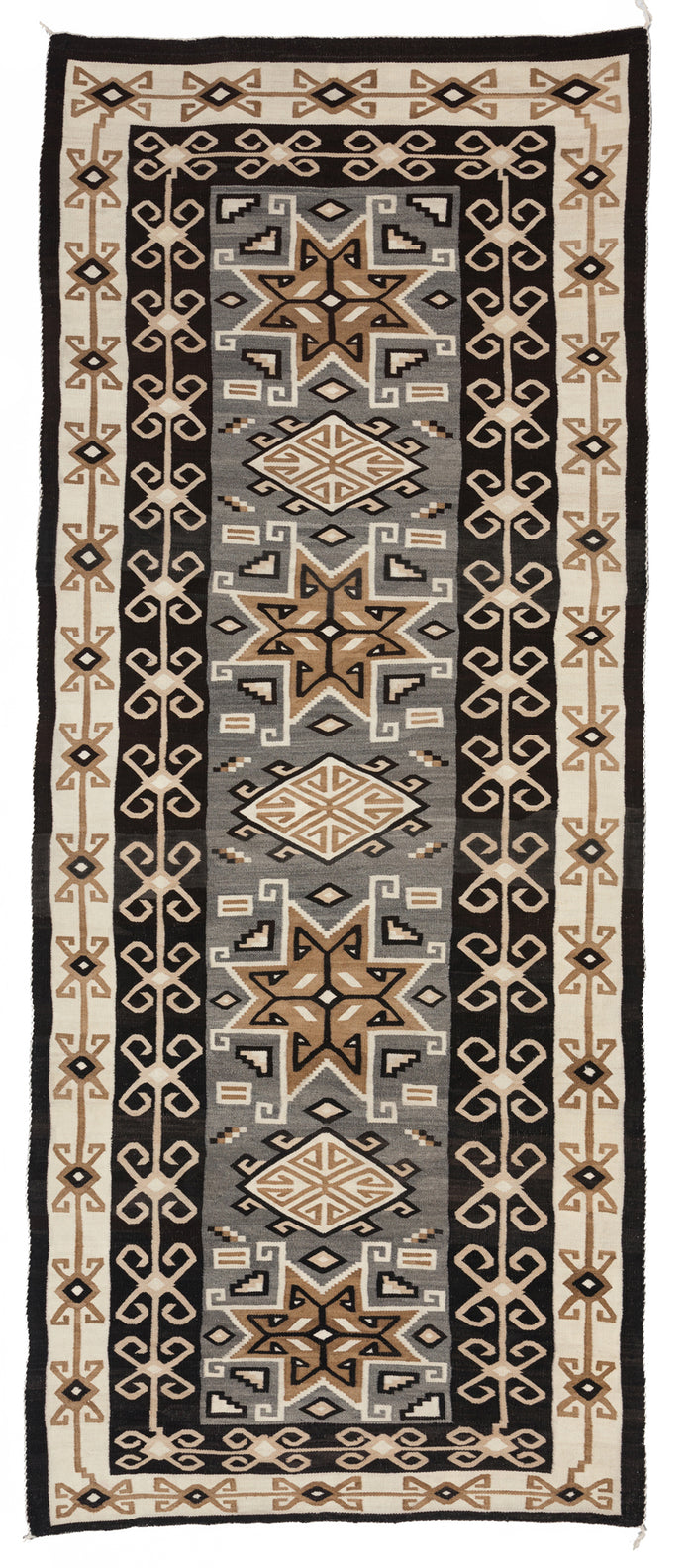 "Two Grey Hills Bistie Navajo Rug : Historic : PC 103 : 49"" x 122"""