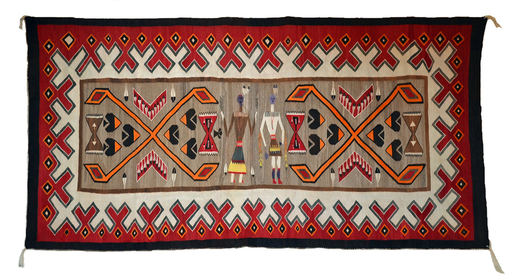 "Teec Nos Pos- Pictorial Navajo Weaving: Historic : PC 13 : 40"" x 94"" - Getzwiller's Nizhoni Ranch Gallery"