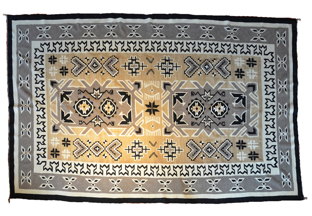 Two Grey Hills Navajo Rug-Historic large