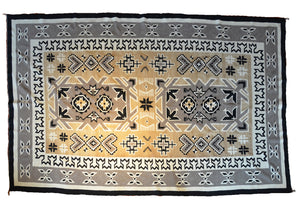 "Two Grey Hills Navajo Rug Weaving : Historic : PC 142: 81"" x 129"" - Getzwiller's Nizhoni Ranch Gallery"