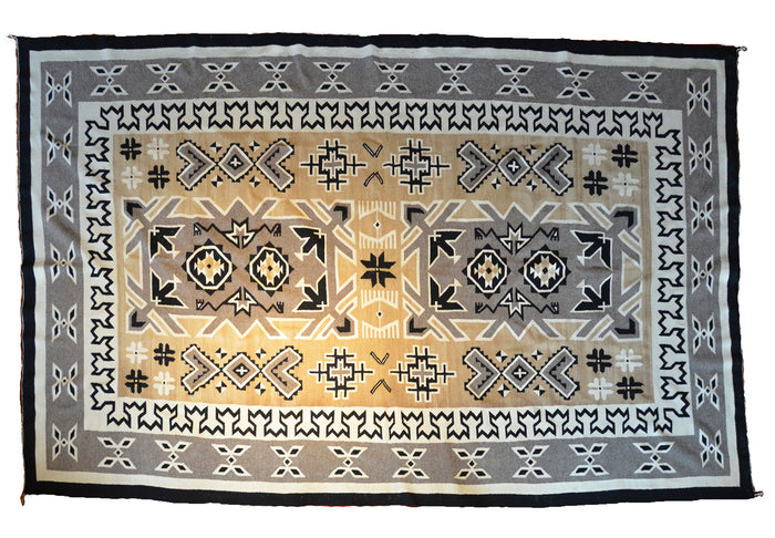 "Two Grey Hills Navajo Rug Weaving : Historic : PC 142: 6'11"" x 10'9"""