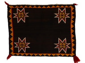 Germantown Pictorial Single Saddle Blanket : Historic Navajo Textile : PC 193 :  26″ x 34″ - Getzwiller's Nizhoni Ranch Gallery