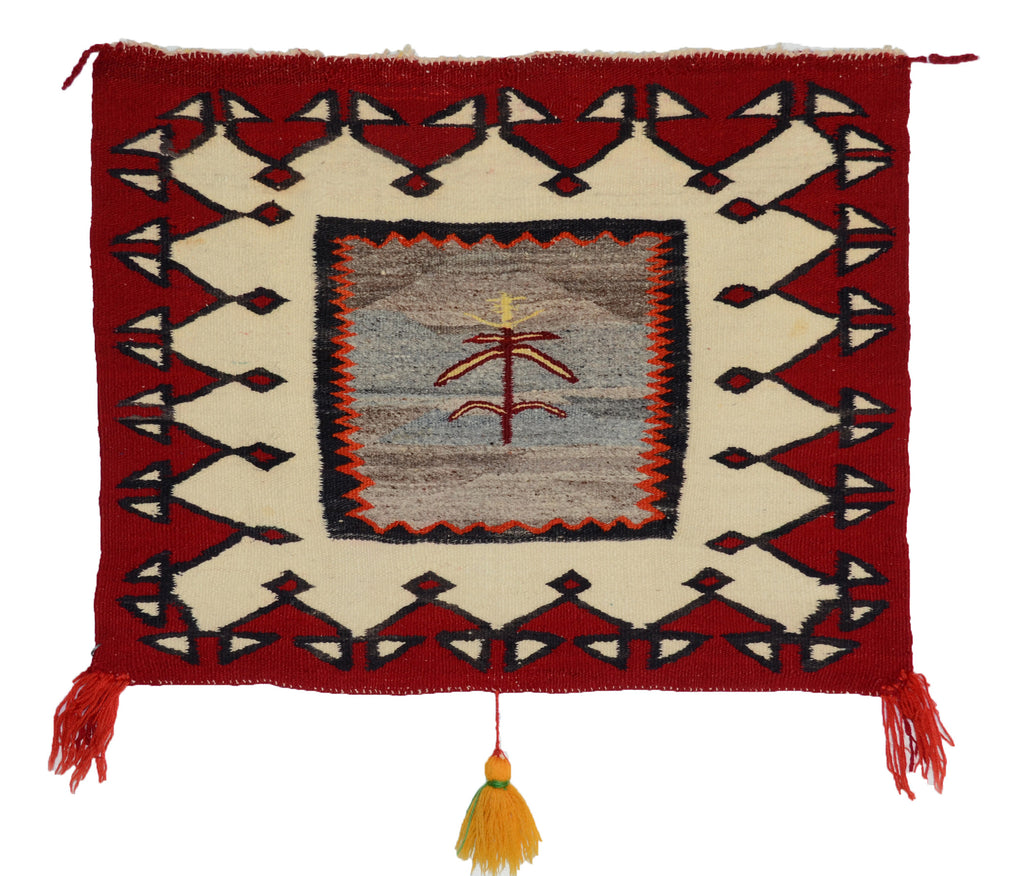 Pictorial Single Saddle Blanket : Historic Navajo Textile : PC 20 :  26″ x 32″ - Getzwiller's Nizhoni Ranch Gallery