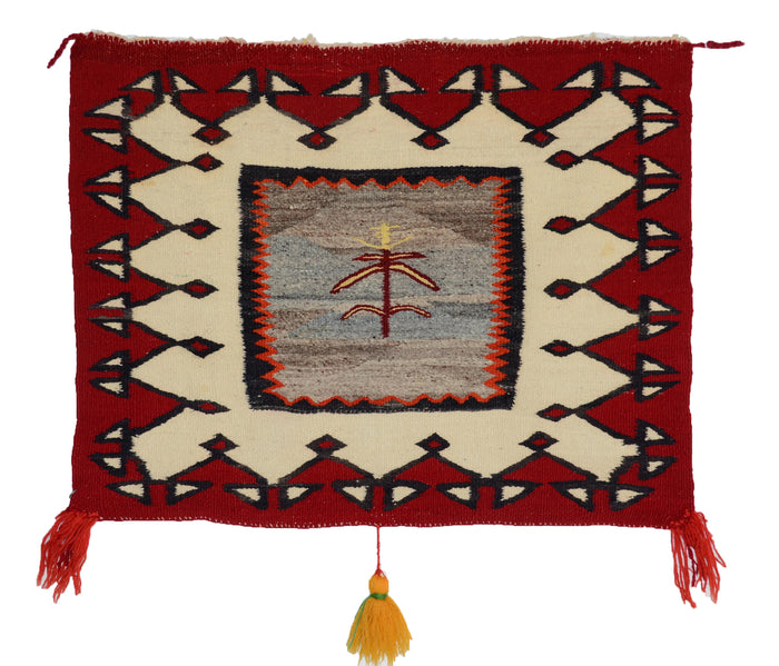 Pictorial Single Saddle Blanket : Historic Navajo Textile : PC 20