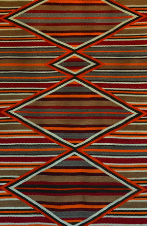 Double Saddle Blanket : Historic Navajo Weaving : PC 250 : 30″ x 61.5″ - Getzwiller's Nizhoni Ranch Gallery
