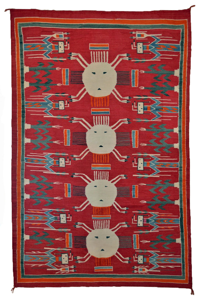 "4 Suns Yei Navajo Weaving: Historic : PC 2 : 55"" X 89"""