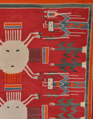 "4 Suns Yei Navajo Weaving: Historic : PC 2 : 55"" X 89"" - Getzwiller's Nizhoni Ranch Gallery"