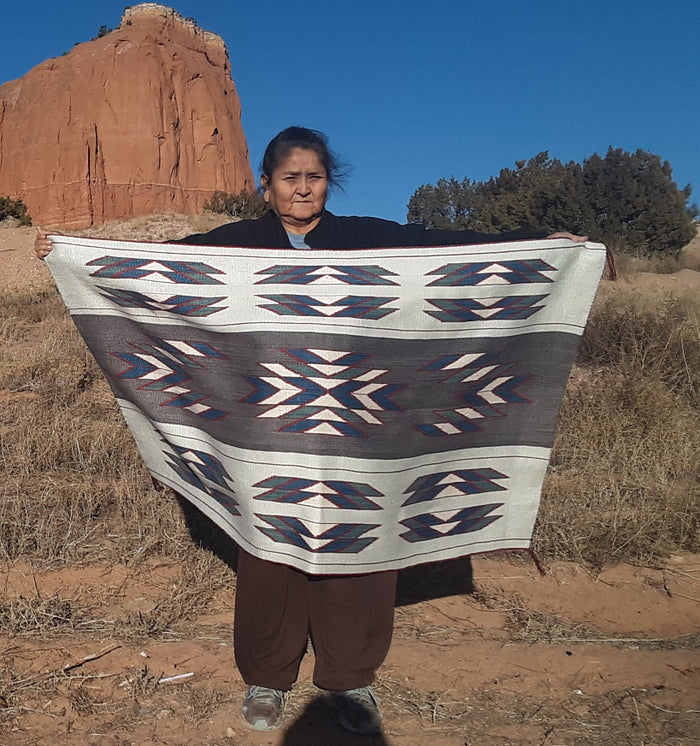 "American Indian Blanket : Woman's Manta : Jalucie Marianito : Churro 1620 : 56"" x 34"""