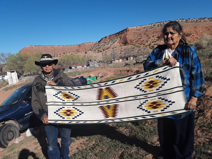 "Navajo Womans Shawl : Kathy Marianito : Churro 1632 : 66"" x 21"""