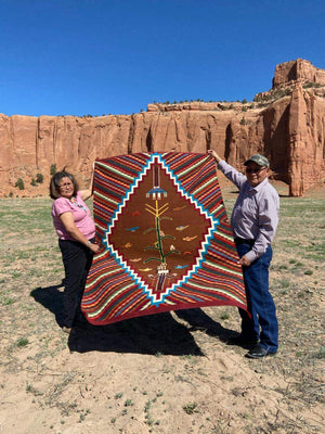 SOLD Optical Yei Navajo Rug: Selena Yazzie : Churro 1634 - Getzwiller's Nizhoni Ranch Gallery