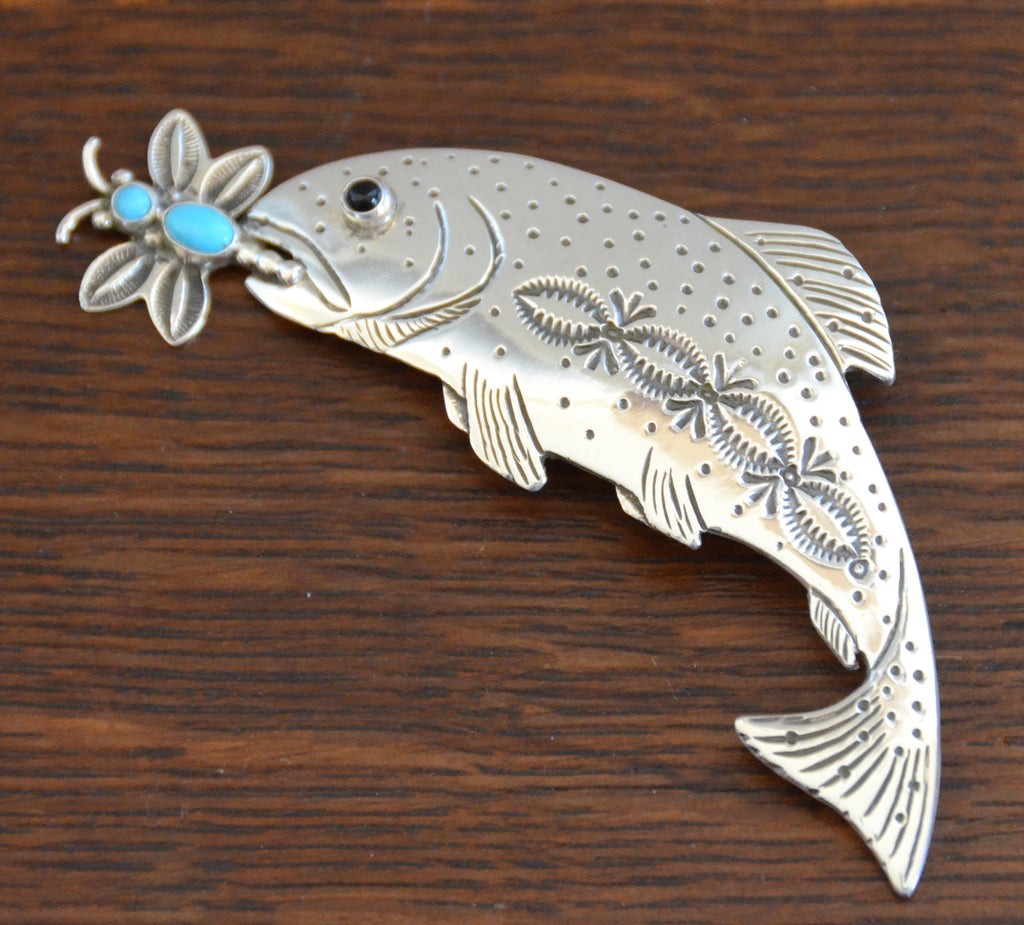 Navajo Jewelry : Trout Fish Pin: Lee Charley : NAJ-27P - Getzwiller's Nizhoni Ranch Gallery