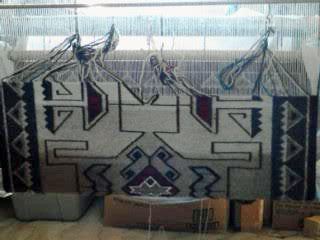 Teec Nos Pos Navajo Rug on the loom