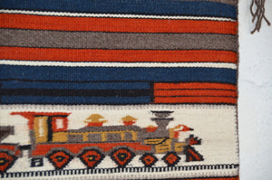 "SOLD : Train Pictorial Miniature Navajo Tapestry : Gloria Begay : m-156 : 13.5"" x 14.5"" - Getzwiller's Nizhoni Ranch Gallery"