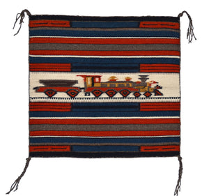 "Train Pictorial Miniature Navajo Tapestry : Gloria Begay : m-156 : 13.5"" x 14.5"" - Getzwiller's Nizhoni Ranch Gallery"