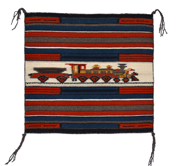 "SOLD : Train Pictorial Miniature Navajo Tapestry : Gloria Begay : m-156 : 13.5"" x 14.5"""