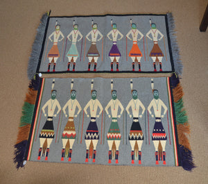 Antique Germantown Navajo Yei Be Chei Textile PC 11 & PC 12