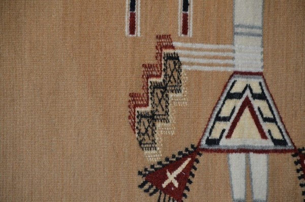 Navajo Sandpainting Weaving - Arrow People : Helene Nez : Churro 679 - Getzwiller's Nizhoni Ranch Gallery