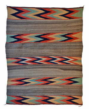 Historic Navajo Banded Serape Blanket : Late Classic :  PC 153