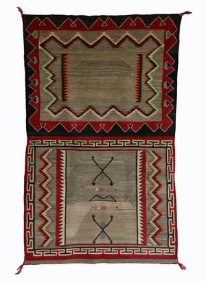 Double Saddle Blanket : Historic Navajo Weaving : PC 192 : 32″ x 52″ - Getzwiller's Nizhoni Ranch Gallery