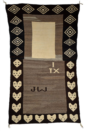 "Double Navajo Saddle Blanket : Antique : JV 102 : 32"" x 56"""