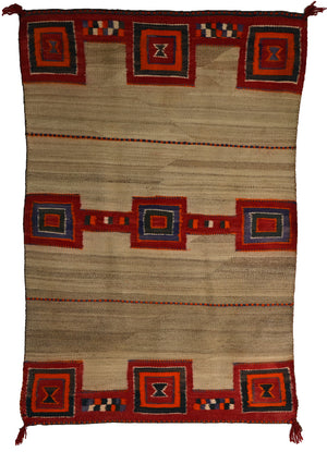 "Double Saddle Blanket : Historic Navajo Weaving : PC 189 : 32"" x 48"" - Getzwiller's Nizhoni Ranch Gallery"