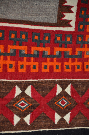 "Double Saddle Blanket : Historic Navajo Weaving : PC 196 : 34"" x 56"" - Getzwiller's Nizhoni Ranch Gallery"