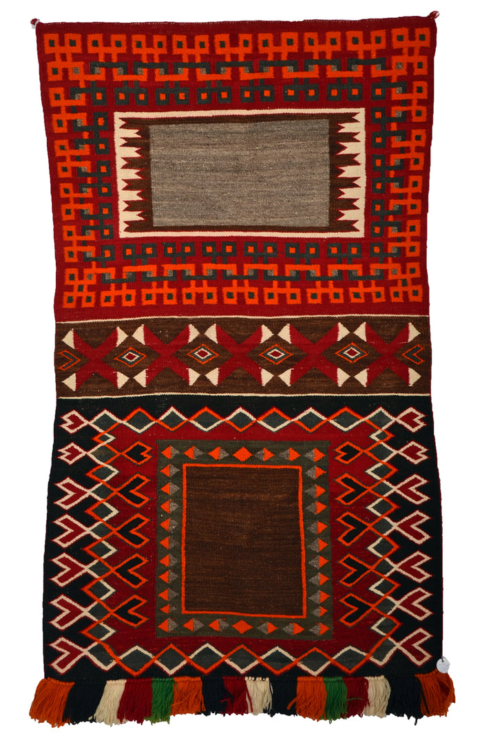 "HOLD Double Saddle Blanket : Historic Navajo Weaving : PC 196 : 34"" x 56"""